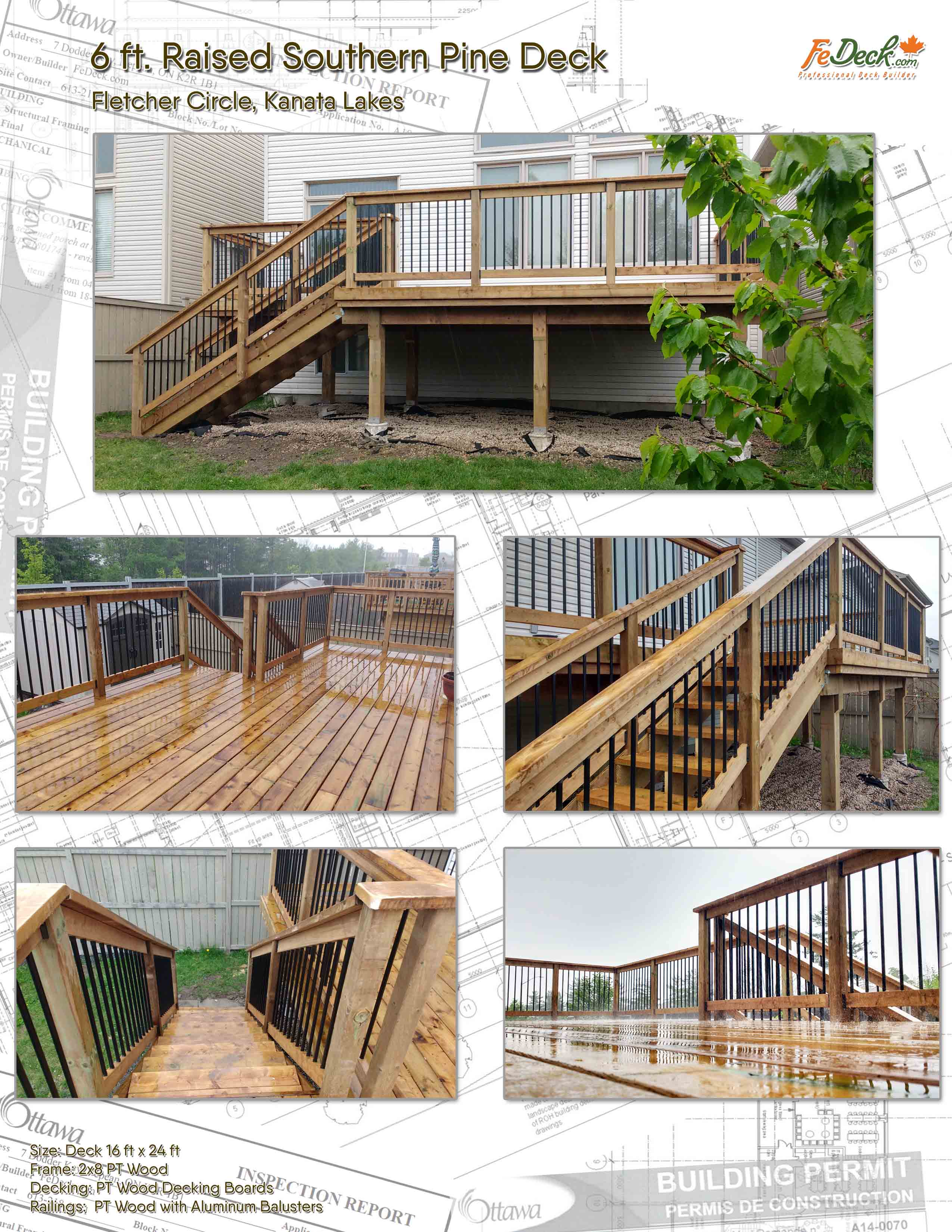 Raised Pressure Treated Pine Wood Deck sm